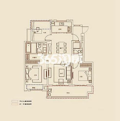 B1户型, 3室2厅2卫1厨