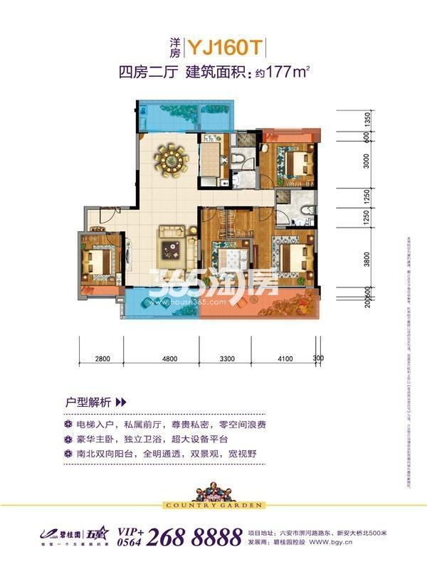 碧桂园天玺洋房YJ160T户型图