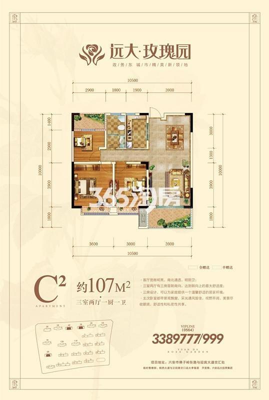 远大玫瑰园高层C2户型图