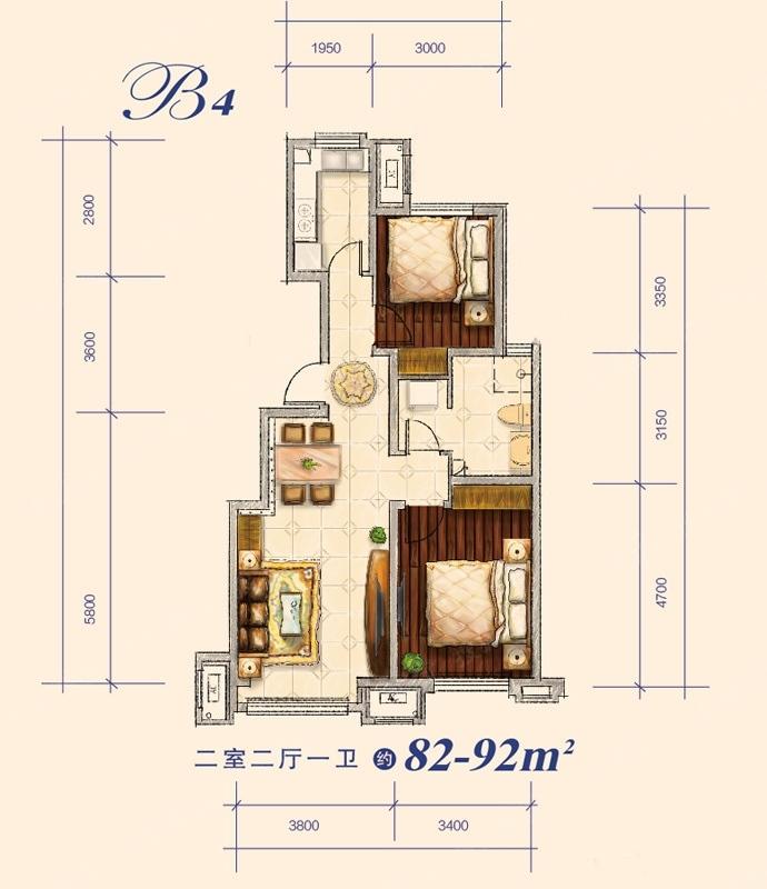 82-92平米 2室2厅1卫