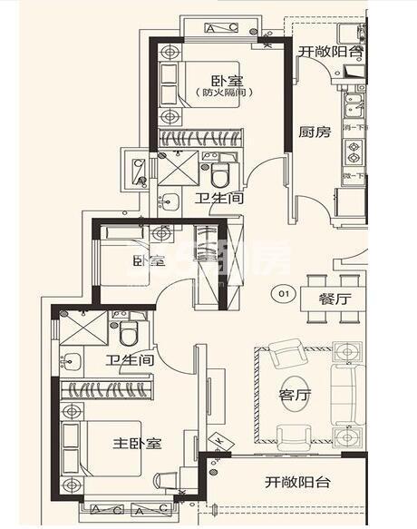 恒大翡翠龙庭10#楼01户3室2厅2卫1厨121.73㎡