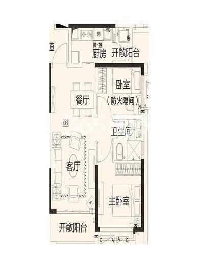 恒大翡翠龙庭8#楼2单元03户2室2厅1卫1厨72.46㎡