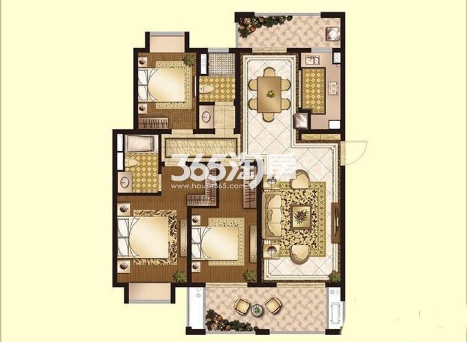 世茂运河城高层2#147㎡标准层A1户型