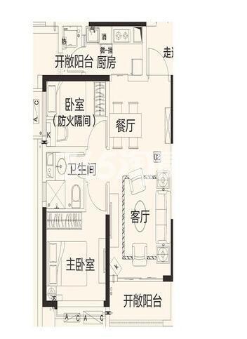 恒大翡翠龙庭8#2单元02户2室2厅1卫1厨72.46平米