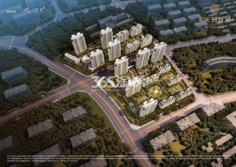 新城玖珑湖鸟瞰图