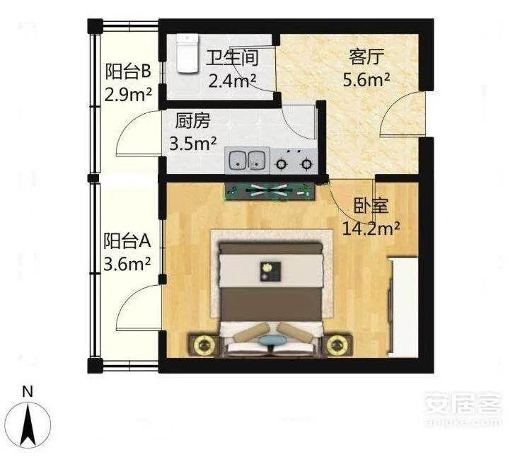 林苑西里1室1厅1卫35平米90年使用权房简装