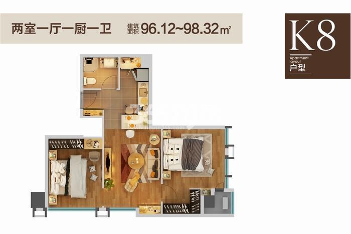 绿地香树花城两室一厅一厨一卫96.12--98.32㎡
