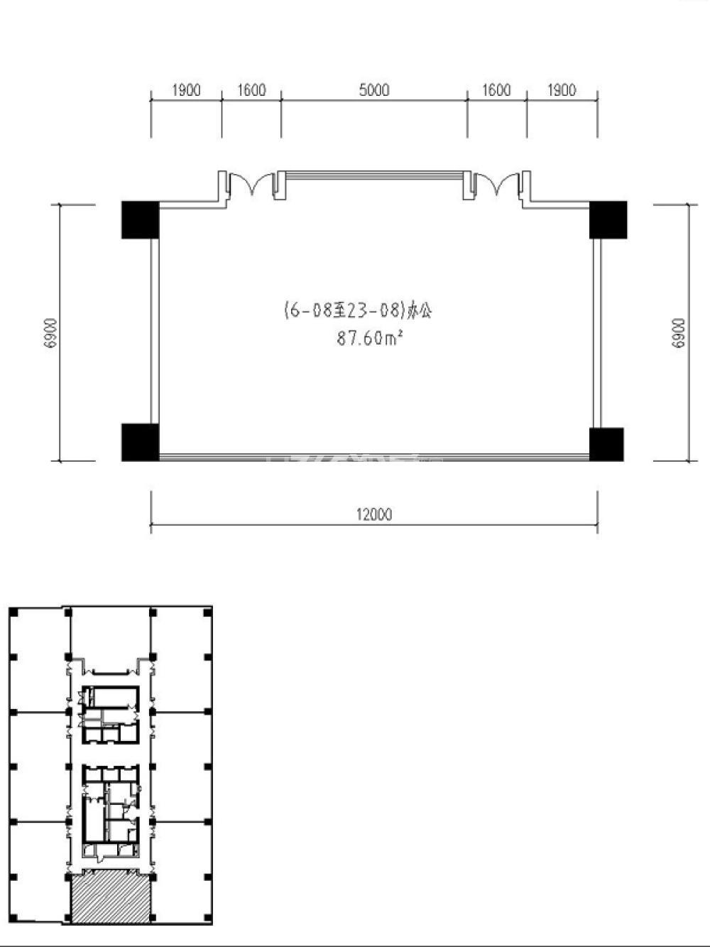 兰基国际公寓1室1卫户型图123.99㎡
