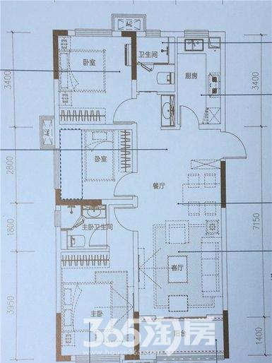 新滨湖孔雀城高层A2户型
