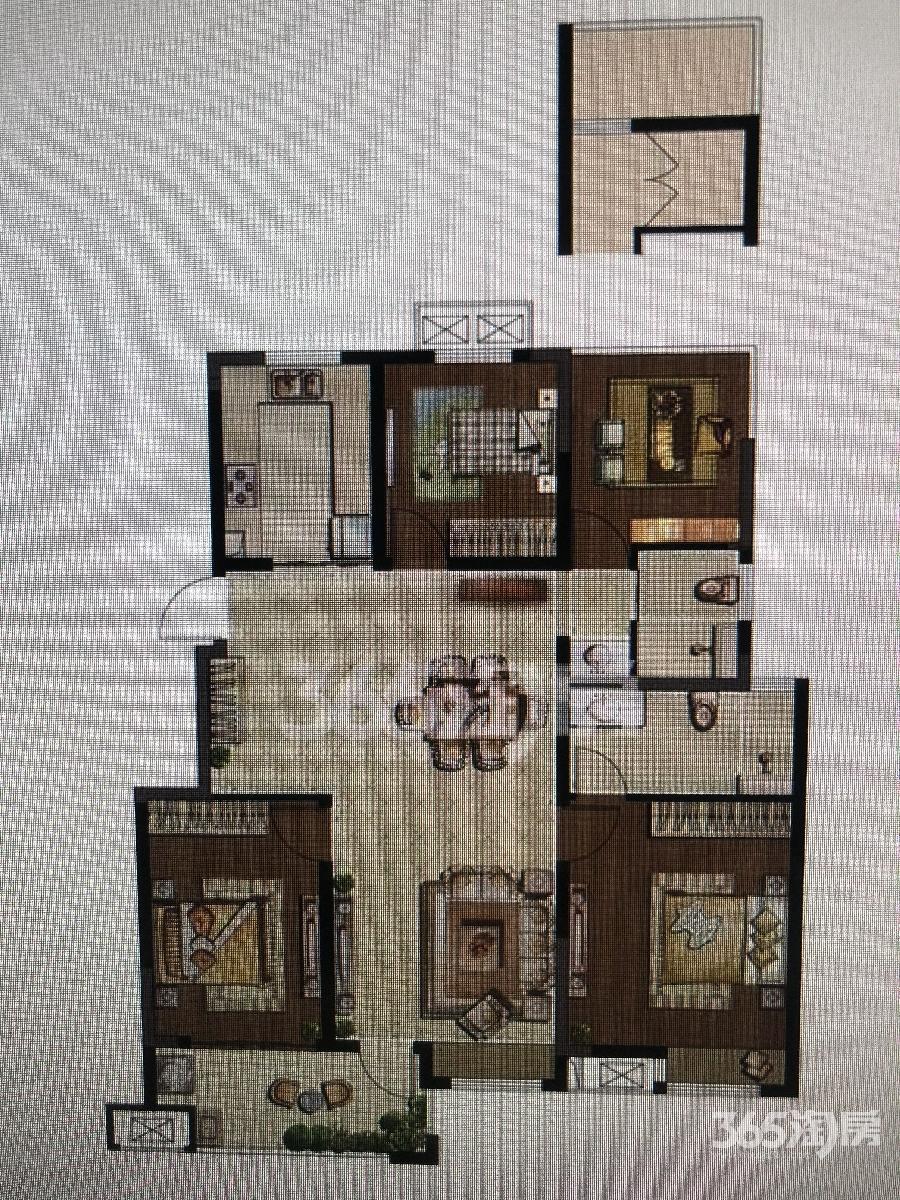 紫金铭苑4室2厅2卫119.64平方产权房毛坯