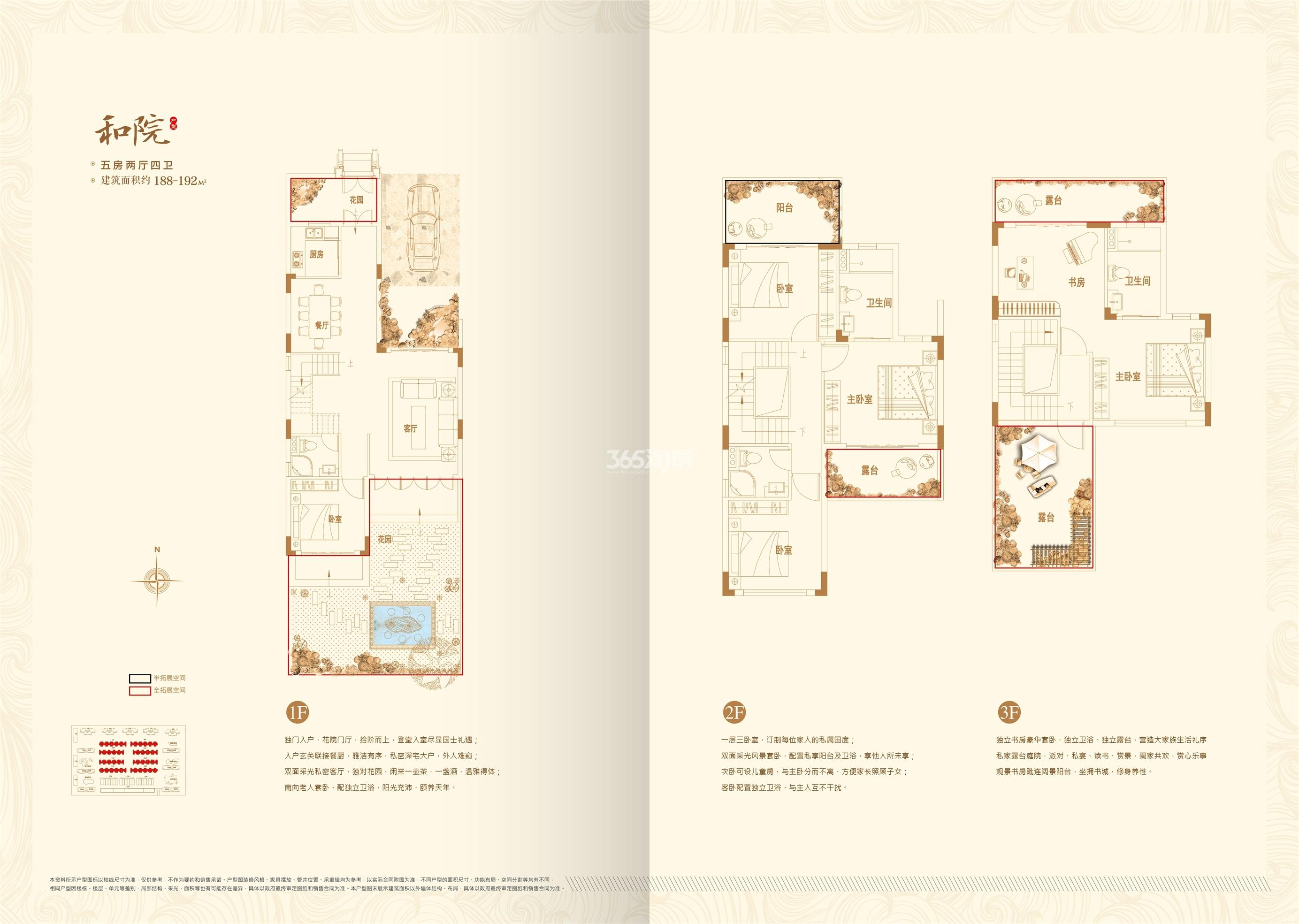 珠江和院 联排别墅实际面积180平方(售楼部提供该户型图只代表户型构造)