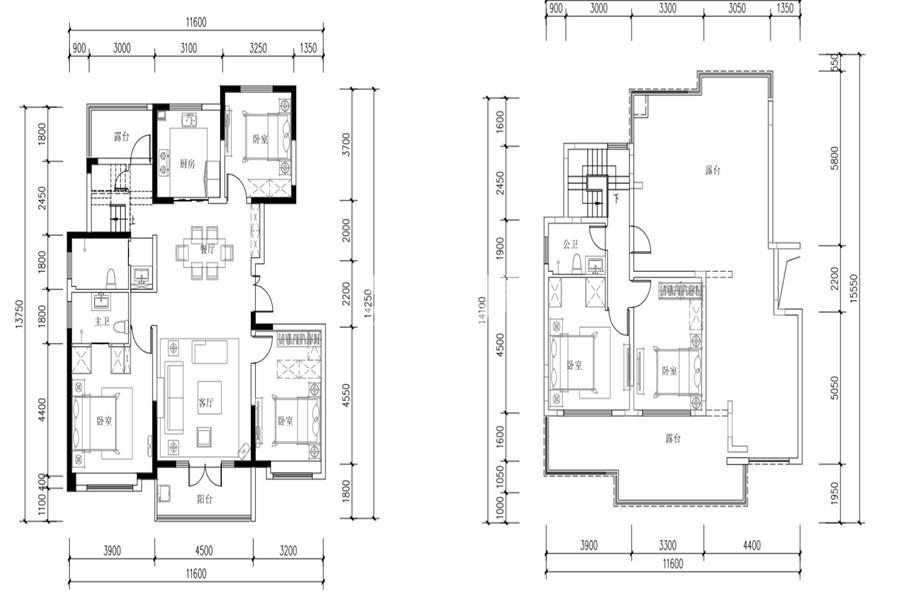 世园林语5室2厅3卫1厨190㎡户型图