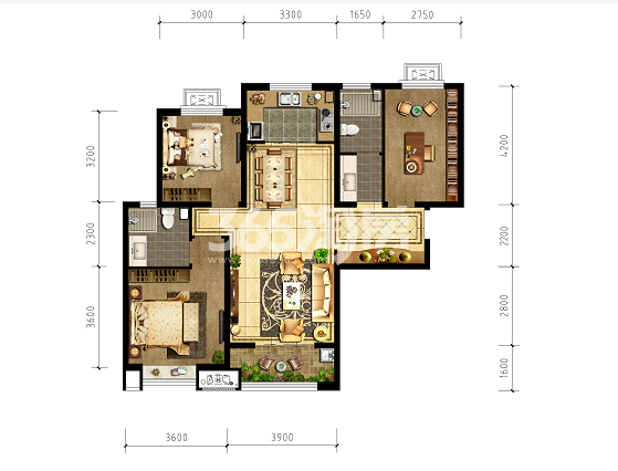 清凉云晖三室两厅120㎡户型图