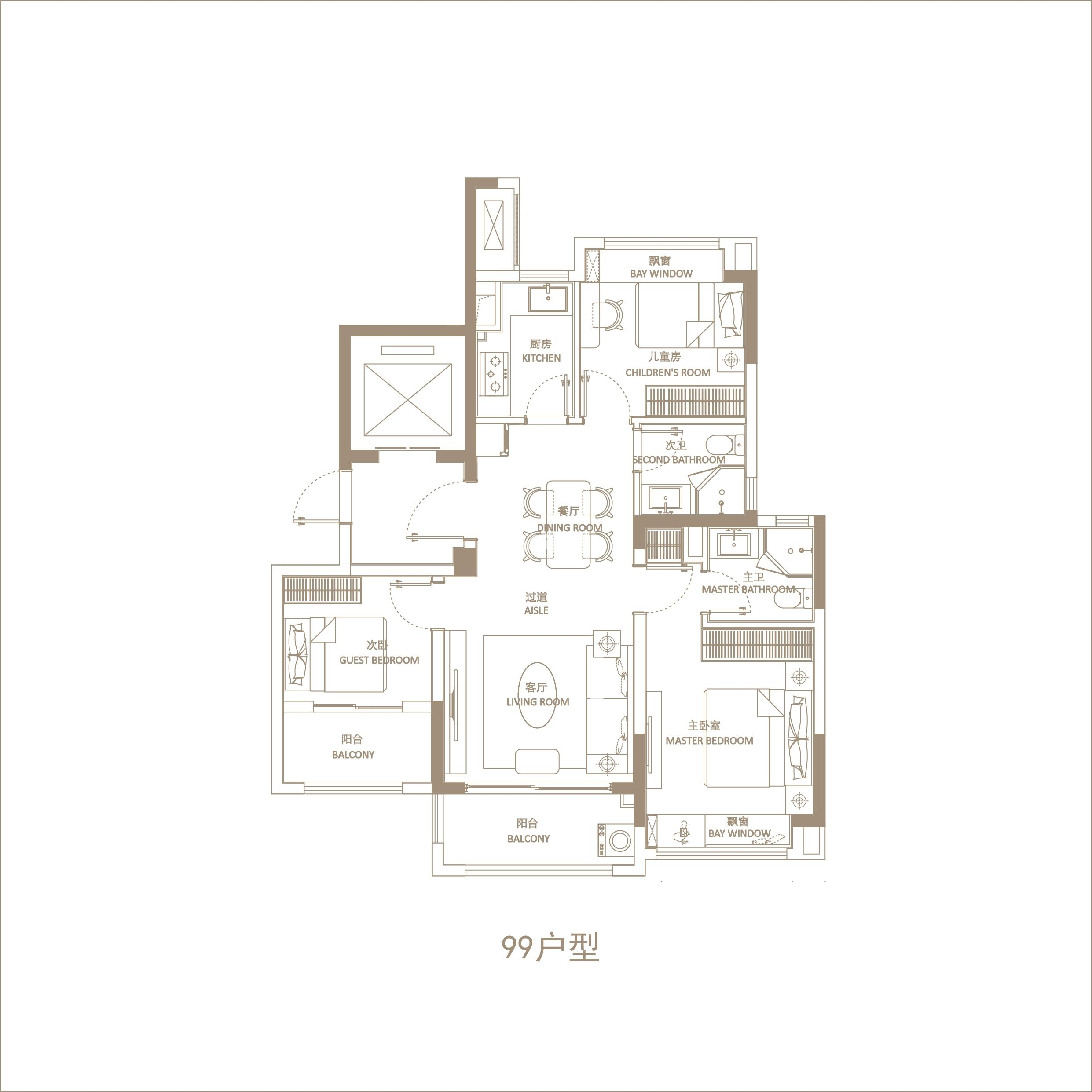 润辰府99㎡三室两厅两卫户型