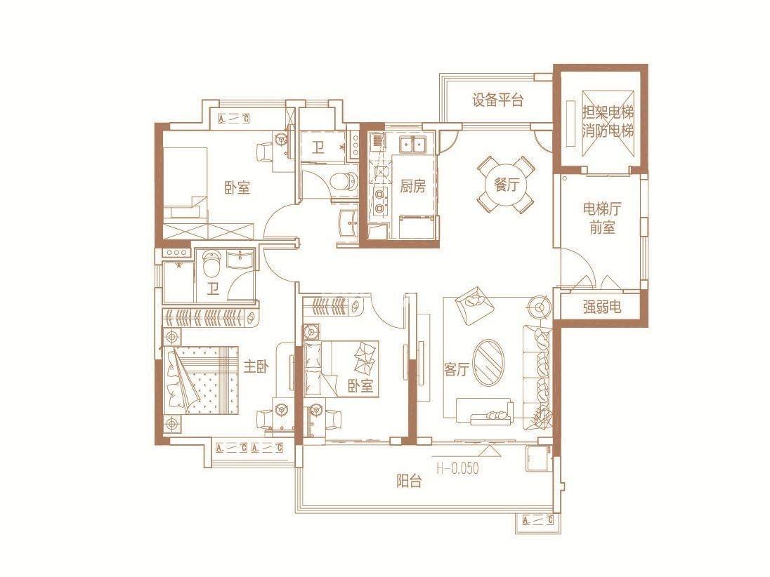 B 122㎡  3室2厅