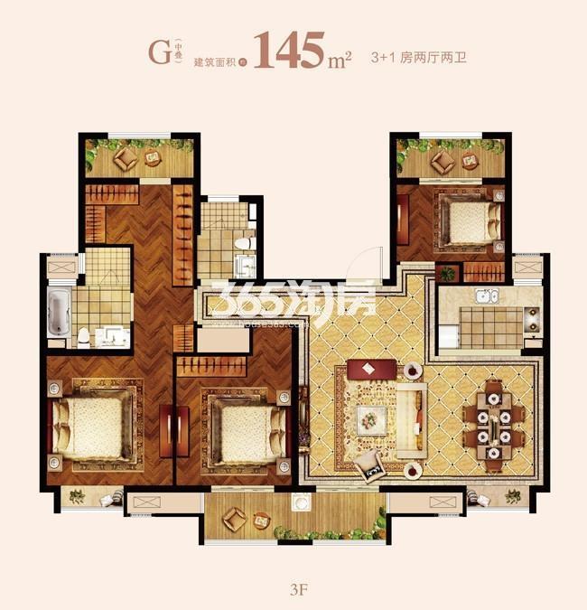 G户型 145㎡ 3+1房两厅两卫