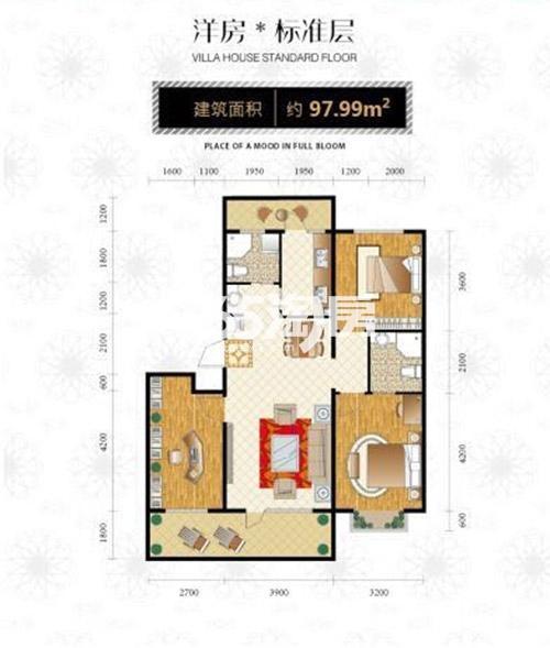 全季首府洋房标准层建筑面积约97.99㎡