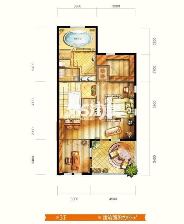 别墅V6户型 五室三厅四卫 建筑面积约291㎡  三层平面图