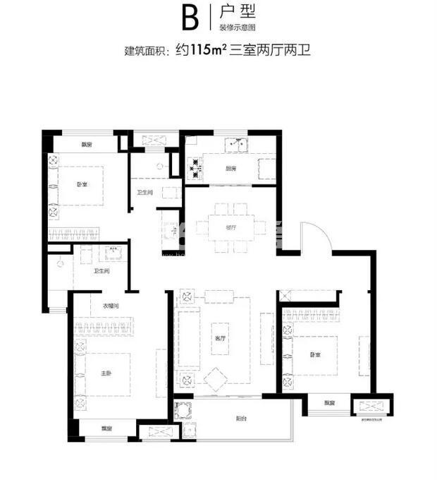 华侨城翡翠天域115㎡户型图