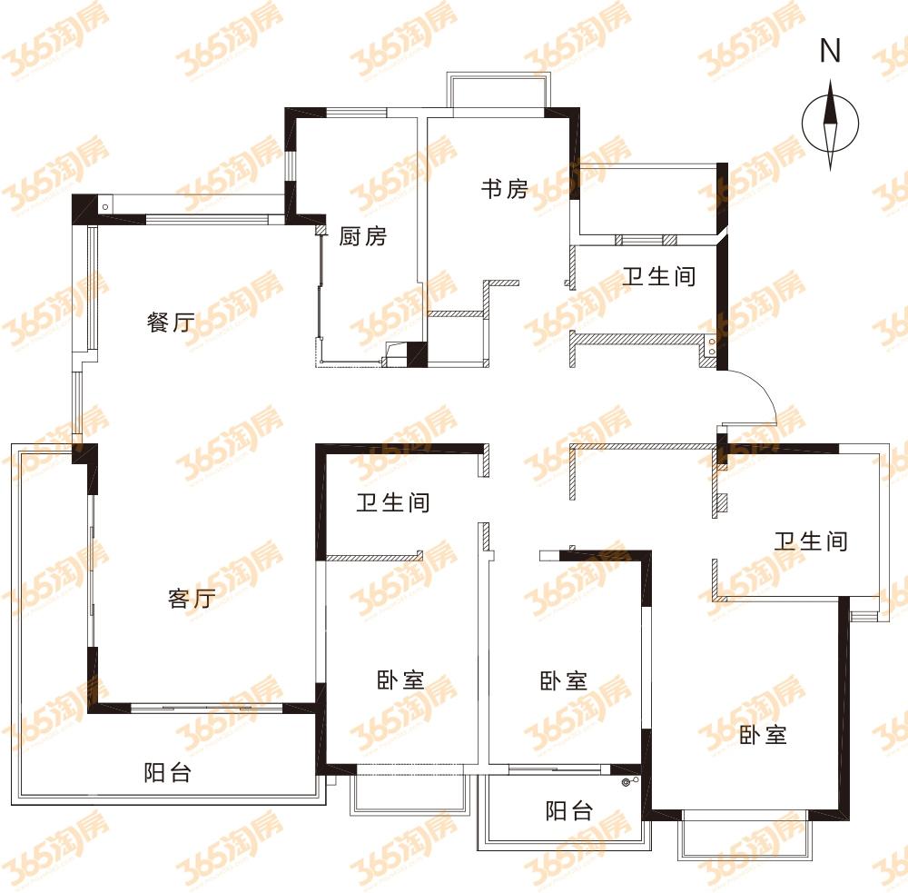 澜岸铭邸约208平小高层MR-G户型