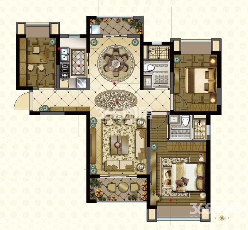 雅居乐中心广场3室2厅2卫116平方产权房毛坯