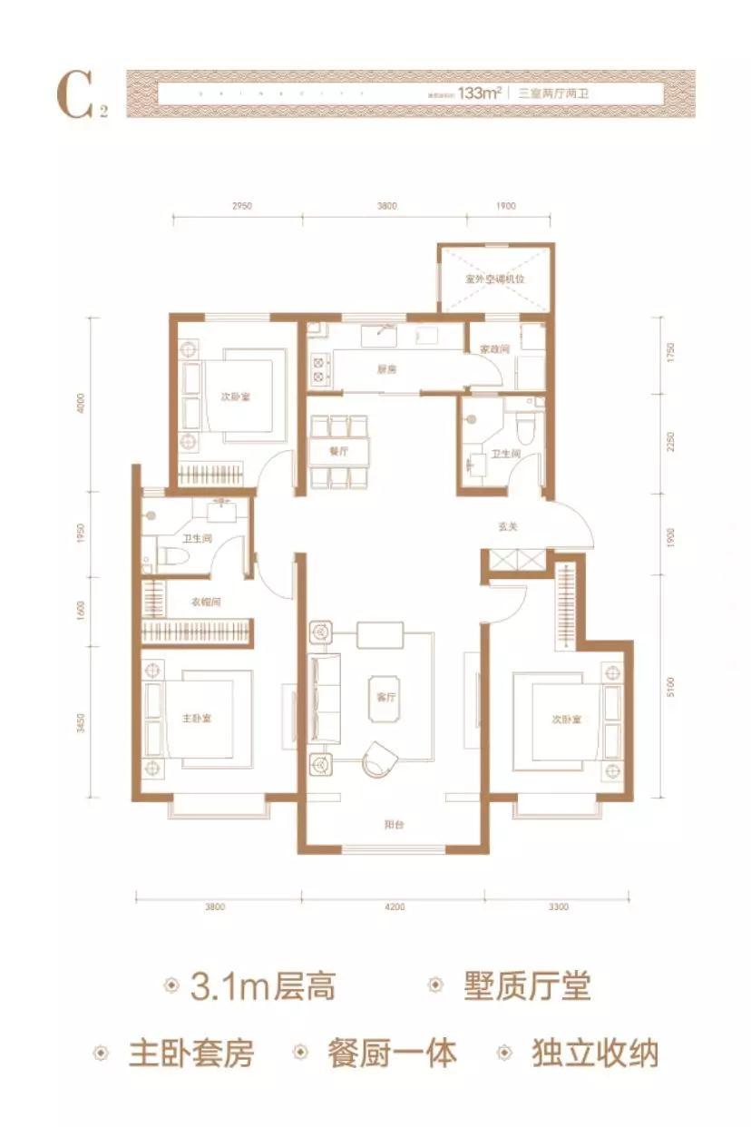 C2户型 三室二厅二卫 133平米