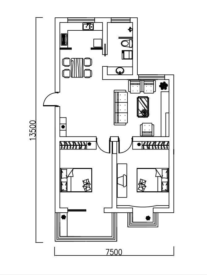 北港花苑2室2厅1卫94�O整租精装
