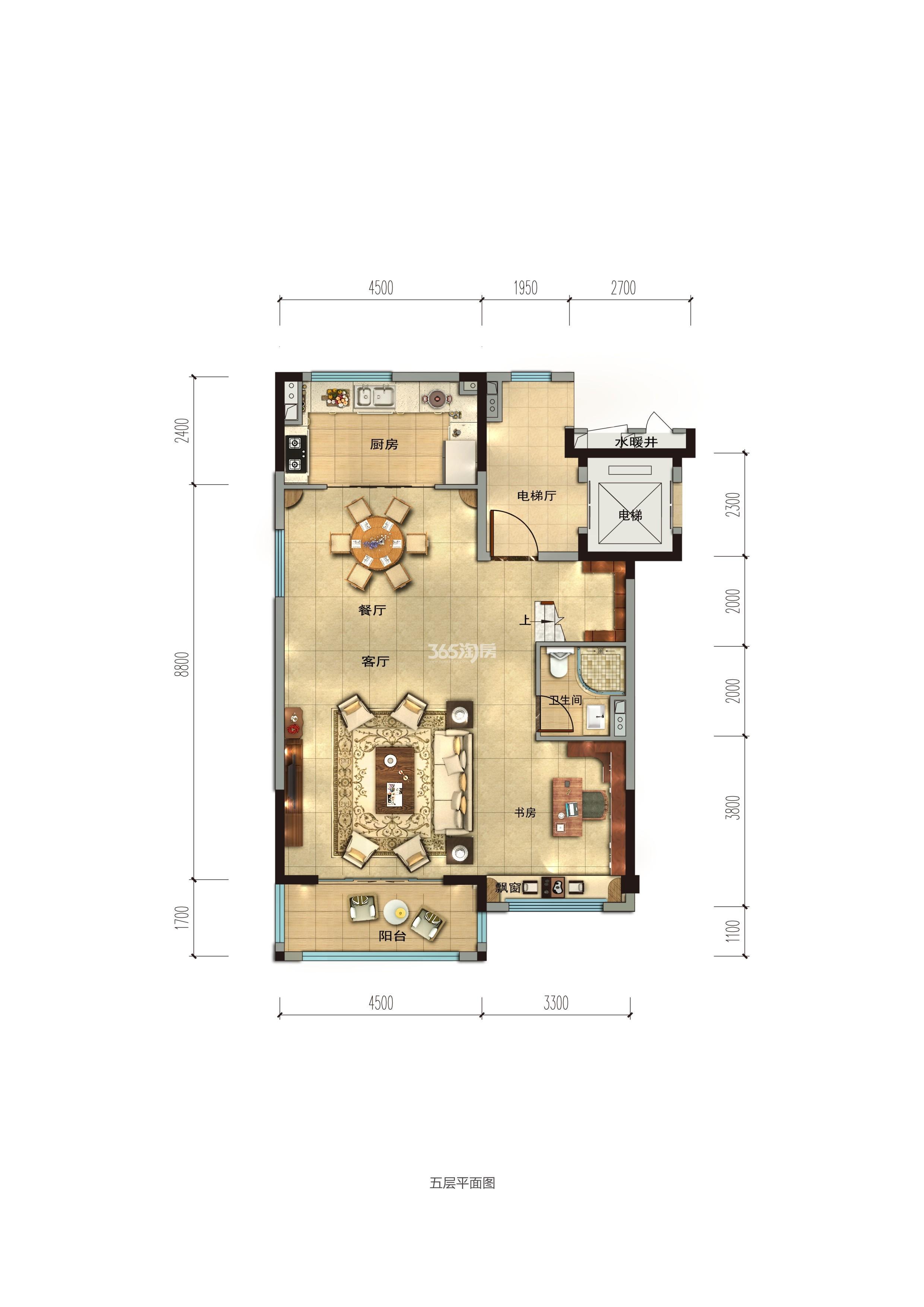 碧桂园香湖湾1号项目160-189㎡上叠(一楼)户型图