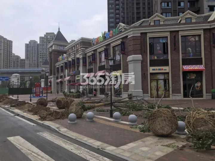 华邦观筑里芙蓉街现场实景 绿化树木栽种进行中(2018.1.3)
