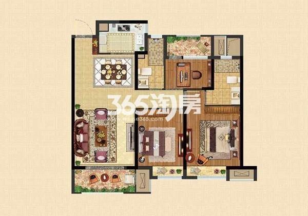 B户型108㎡三室两厅两卫