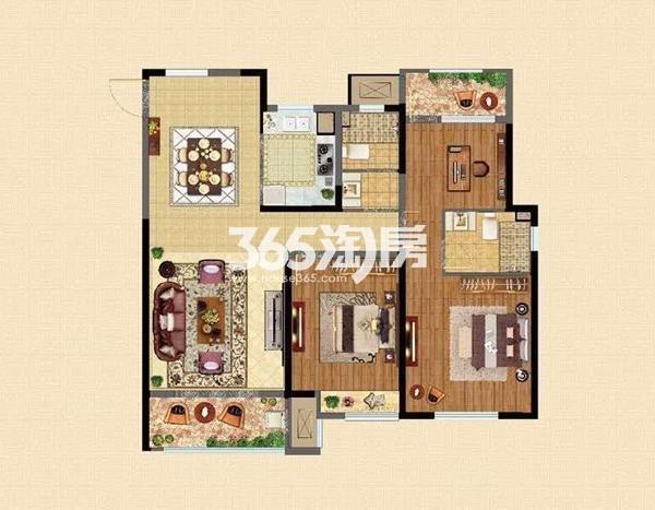 D2户型124㎡三室两厅两卫
