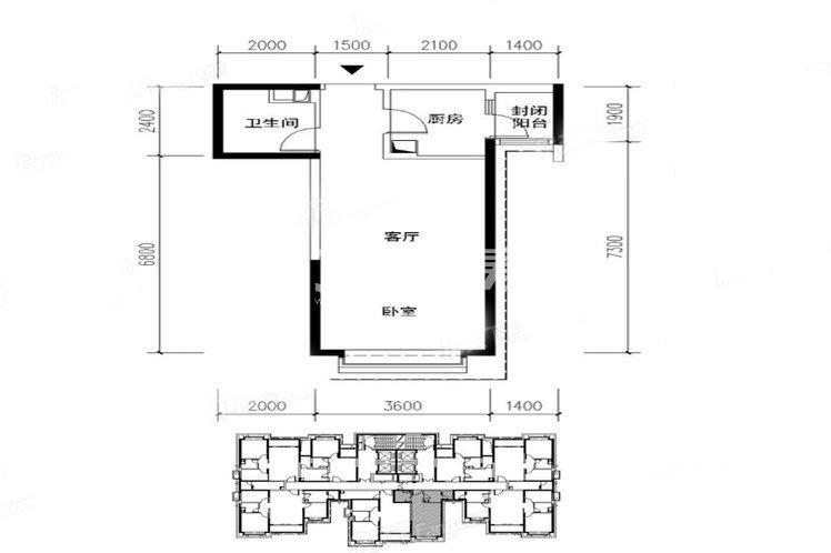 恒大翡翠龙庭11#楼户型1室1厅1卫1厨52平
