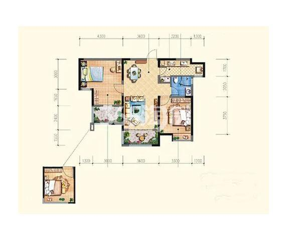 雅居乐湖居笔记D2户型3室2厅1卫1厨面积约98.00平米