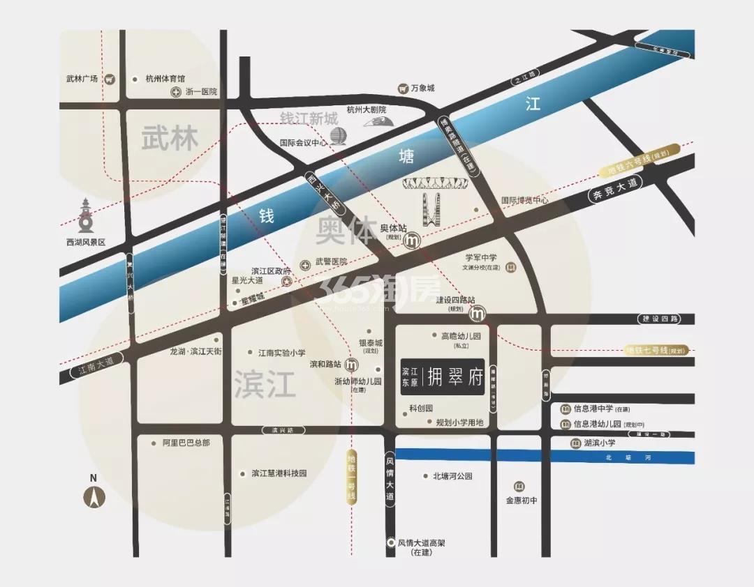 滨江东原拥翠府交通图