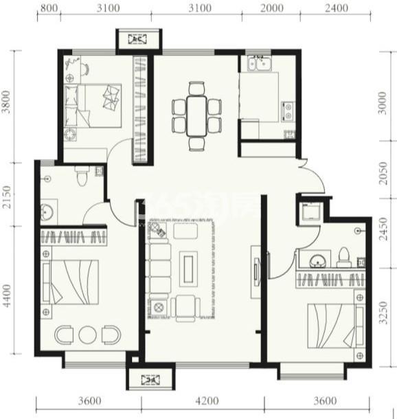 户型图 B户型128.00平米 三室