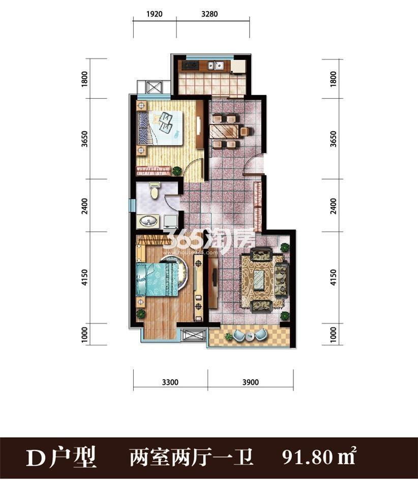 户型图91.8平米两室两厅一卫