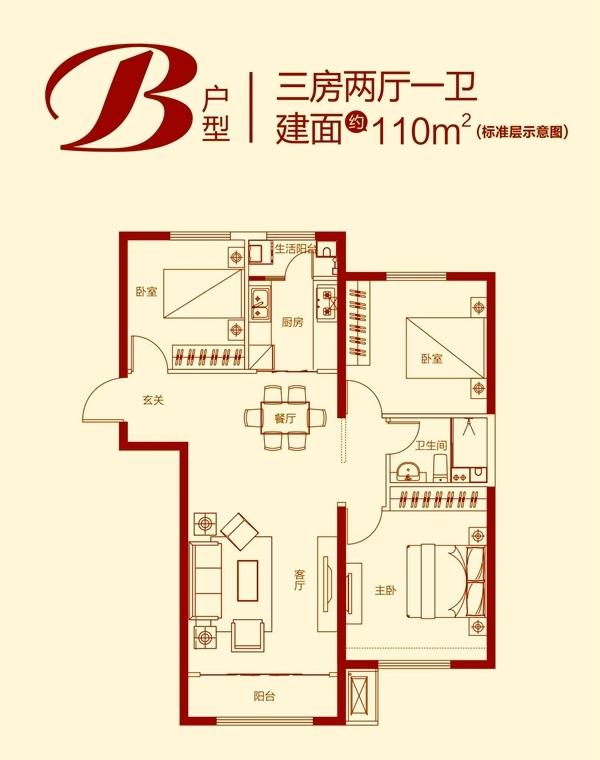 B户型 三室两厅一卫 110㎡