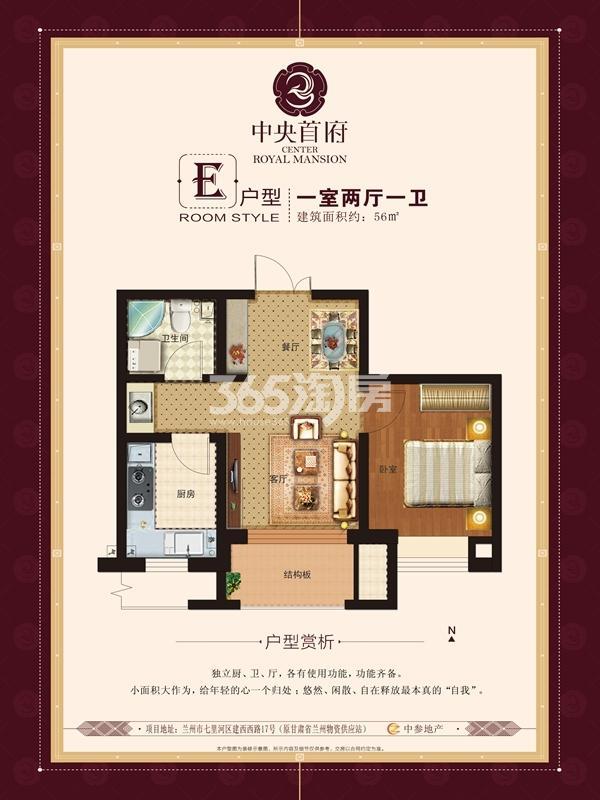 国际旅游港中央首府E户型 一室两厅一卫 建面56平方米