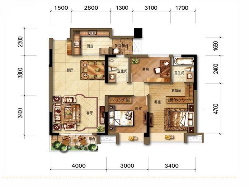 A2户型三室两厅两卫 107平