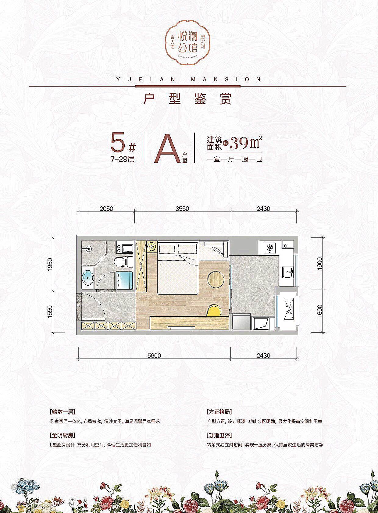 金大地悦澜公馆39㎡户型图