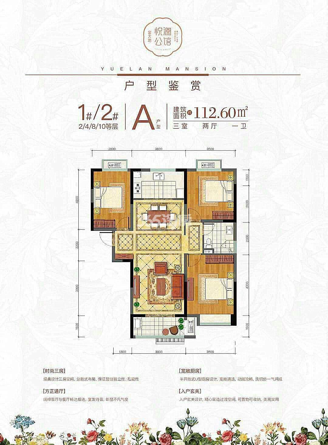 金大地悦澜公馆112.60㎡A户型图