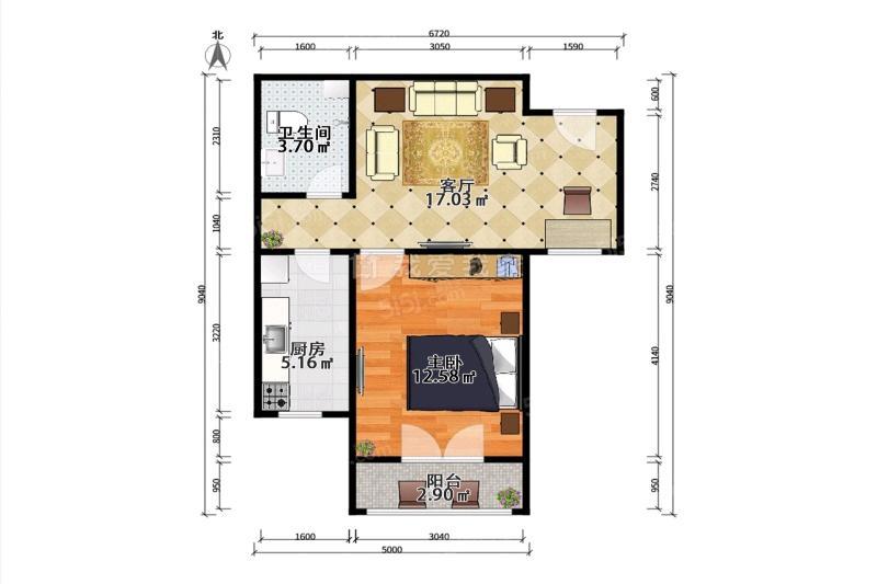跃丽家园1室1厅1卫59.17平米2013年产权房精装