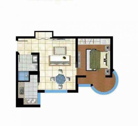 香庭海岸1室1厅1卫50平米豪华装产权房2016年建