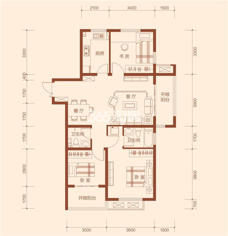 G1C户型三室两厅两卫建筑面积约111.48㎡