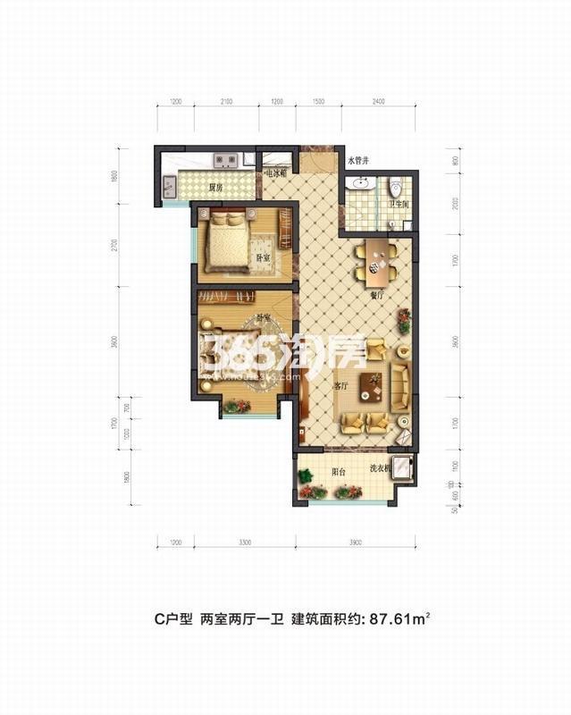 摩卡思想家C户型两室两厅一卫一厨87.61㎡