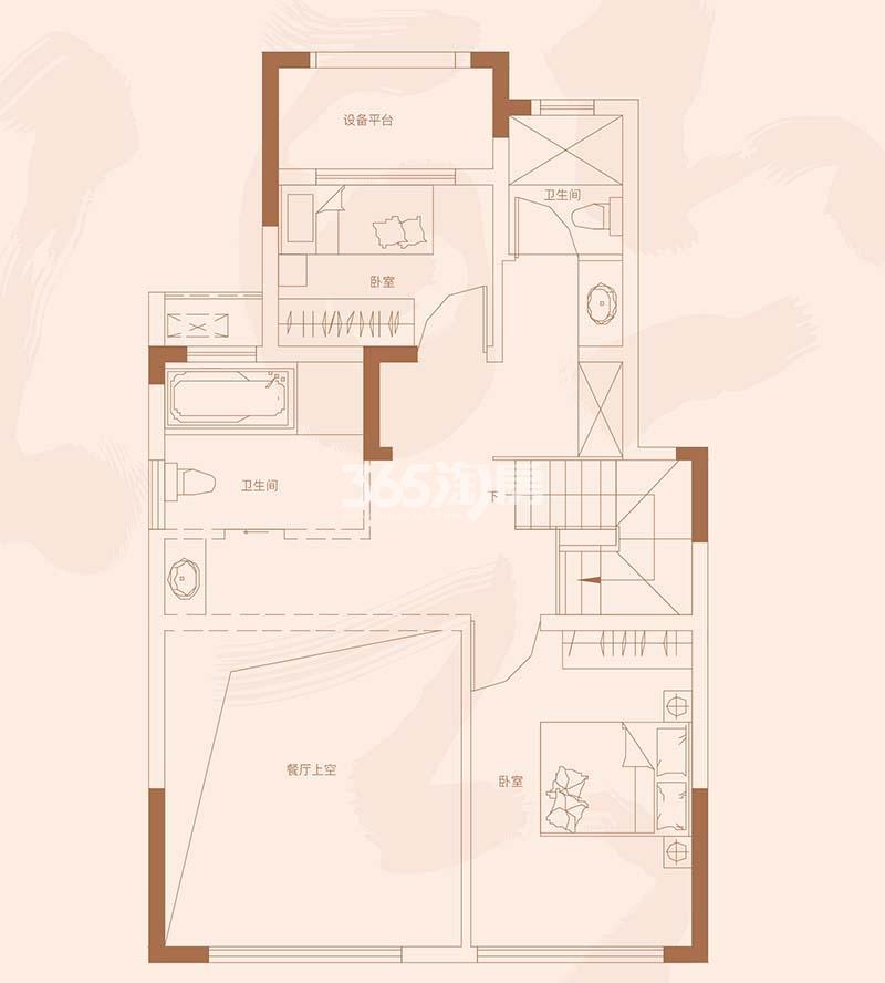 祥源金港湾D1洋房76#楼199㎡户型之二层51㎡