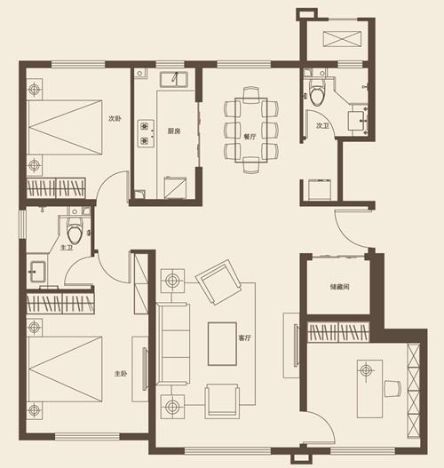 125平米三室两厅两卫