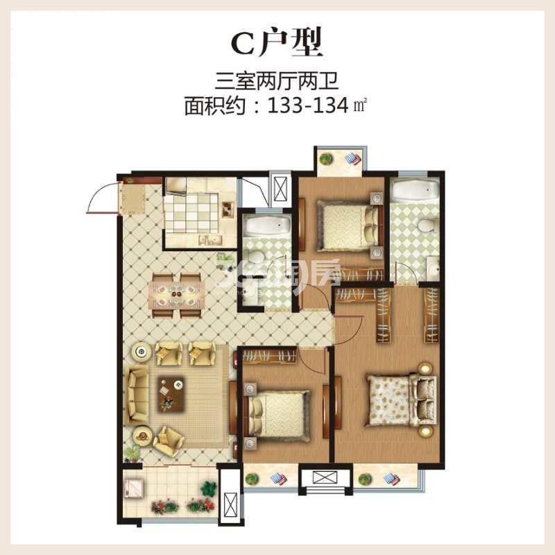 第一国际四期颐园高层133-134平户型图
