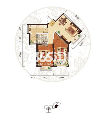 阳光台365 C户型两室两厅一卫83.32㎡