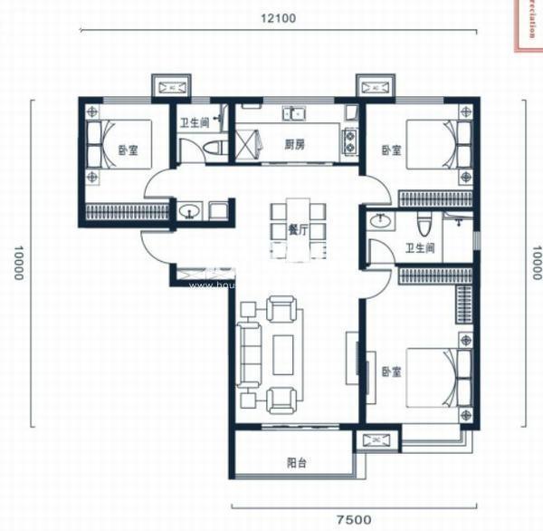 万科高新华府三室两厅两卫129平米户型图